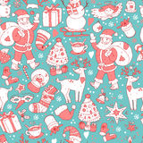 Merry Christmas seamless pattern, Happy New Year background, wra Royalty Free Stock Photos