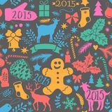 Merry Christmas seamless pattern, Happy New Year background, wrapping paper texture, silhouette.Classic elements Christmas pattern. Winter background. Holidays Royalty Free Stock Photo