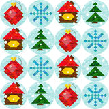 Merry Christmas seamless pattern, happy new year. Vector illustration Stock Photos