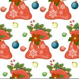 Merry Christmas seamless pattern with holiday symbols. The big red bag cartoon. Tile for your design Stock Photography
