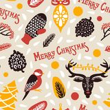 Merry Christmas. Seamless pattern with lettingering mittens deer snowflakes a bird berries cones spruce. Vector illustration Stock Images