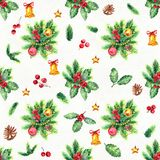 Merry Christmas seamless pattern. Watercolor Illustration with holly berries balls, gifts and gold bells Stock Image