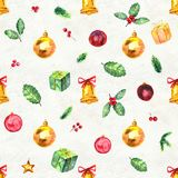 Merry Christmas seamless pattern. Watercolor Illustration with holly berry balls, gifts and gold bells Royalty Free Stock Images