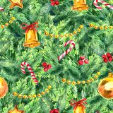 Merry Christmas seamless pattern. Watercolor Illustration with xmas tree decoration Stock Photography