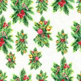Merry Christmas seamless pattern. Watercolor Illustration with xmas tree decoration Stock Image