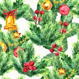 Merry Christmas seamless pattern. Watercolor Illustration with xmas tree decoration, gold bells, balls and holly berries Royalty Free Stock Image