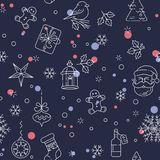 Merry Christmas seamless pattern. New Year sighns on black background. Line stile vector illustration Stock Image