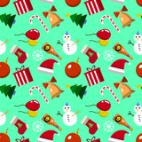Merry Christmas Seamless pattern with new years elements. Vector illustration of flat design. EPS royalty free illustration