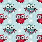 Merry Christmas! Seamless pattern with owls. Vector background. Royalty Free Stock Photo