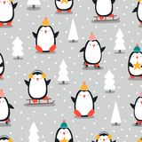 Merry Christmas seamless pattern with penguins,in . vector illustration