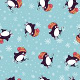 Merry Christmas seamless pattern with penguins,in vector. Hand draw Royalty Free Stock Image