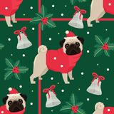 Merry Christmas Seamless pattern with the pugs Green background. Merry Christmas Seamless pattern with the Pug dogs Green background Stock Images