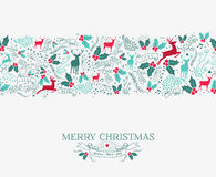 Merry christmas seamless pattern reindeer holly Stock Photos