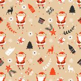 Merry Christmas seamless pattern with Santa Claus. Holiday pattern Royalty Free Stock Image