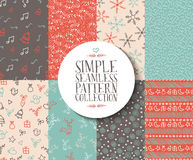 Merry christmas seamless pattern set background Royalty Free Stock Images