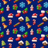 Merry Christmas seamless pattern, set icons on blue background. In vector Stock Image