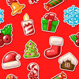 Merry Christmas seamless pattern, set icons on red background. In vector Stock Photography