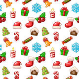 Merry Christmas seamless pattern, set icons on white background. In vector Royalty Free Stock Photography