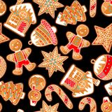 Merry Christmas seamless pattern with various gingerbreads.  Stock Photo
