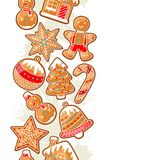 Merry Christmas seamless pattern with various gingerbreads.  Royalty Free Stock Image