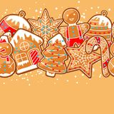 Merry Christmas seamless pattern with various gingerbreads.  Stock Photography