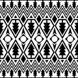 Merry Christmas greeting with using pine tree seamless pattern in black and white. tribal aztec ethnic design. Peruvian, mexican, stock illustration
