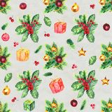 Merry Christmas seamless pattern. Watercolor Illustration with holly berries balls, gifts and gold bells Stock Images