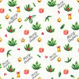 Merry Christmas seamless pattern. Watercolor Illustration with lettering, holly berry, balls, gifts and gold bells white background Royalty Free Stock Image