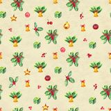 Merry Christmas seamless pattern. Watercolor Illustration with xmas decoration Stock Image