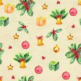 Merry Christmas seamless pattern. Watercolor Illustration with xmas decoration Stock Images