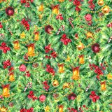 Merry Christmas seamless pattern. Watercolor Illustration with xmas tree decoration, gold bells, balls and holly berries Royalty Free Stock Photo