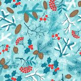 Merry Christmas seamless pattern with winter Royalty Free Stock Photo