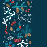 Merry Christmas seamless pattern with winter. Branches Stock Image