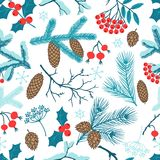 Merry Christmas seamless pattern with winter. Branches Stock Photos