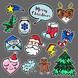Merry Christmas set of badges, patches, stickers. With cute comic icons in Pop Art style Stock Photography