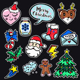 Merry Christmas set of badges, patches, stickers Stock Photos