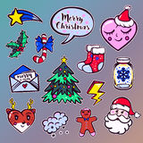 Merry Christmas set of badges, patches, stickers Stock Image