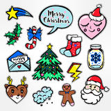Merry Christmas set of badges, patches, stickers Royalty Free Stock Photography