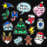 Merry Christmas set of badges, patches, stickers. With cute comic icons in Pop Art style Stock Image