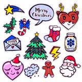 Merry Christmas set of badges, patches, stickers Stock Images