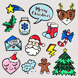 Merry Christmas set of badges, patches, stickers Royalty Free Stock Images