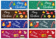 Merry Christmas set of banners, template with space for text for your design. Winter holiday collection long board. Poster, flyer. Flat style. Vector Royalty Free Stock Photography