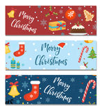 Merry Christmas set of banners, template with space for text for your design. Winter holiday collection long board Royalty Free Stock Photo