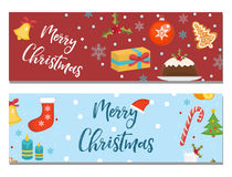 Merry Christmas set of banners, template with space for text for your design. Winter holiday collection long board Stock Photos