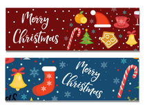 Merry Christmas set of banners, template with space for text for your design. Winter holiday collection long board Royalty Free Stock Images