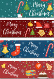 Merry Christmas set of banners, template with space for text for your design. Winter holiday collection long board Stock Photography