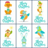 Merry Christmas Set of Bright Festive Postcards. With friendly animals on white background. Vector illustration with congratulations from wild birds and dog Stock Photos