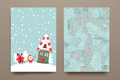 Merry Christmas Set Of Card Templates Royalty Free Stock Photo