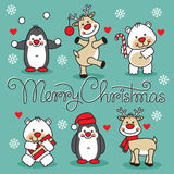 Merry christmas set cartoon animals with text Royalty Free Stock Photography