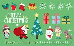 Merry Christmas set. Set containing Christmas inspired illustration, 4 patterns included in the set, applied to presents and stocking. All elements are grouped royalty free illustration